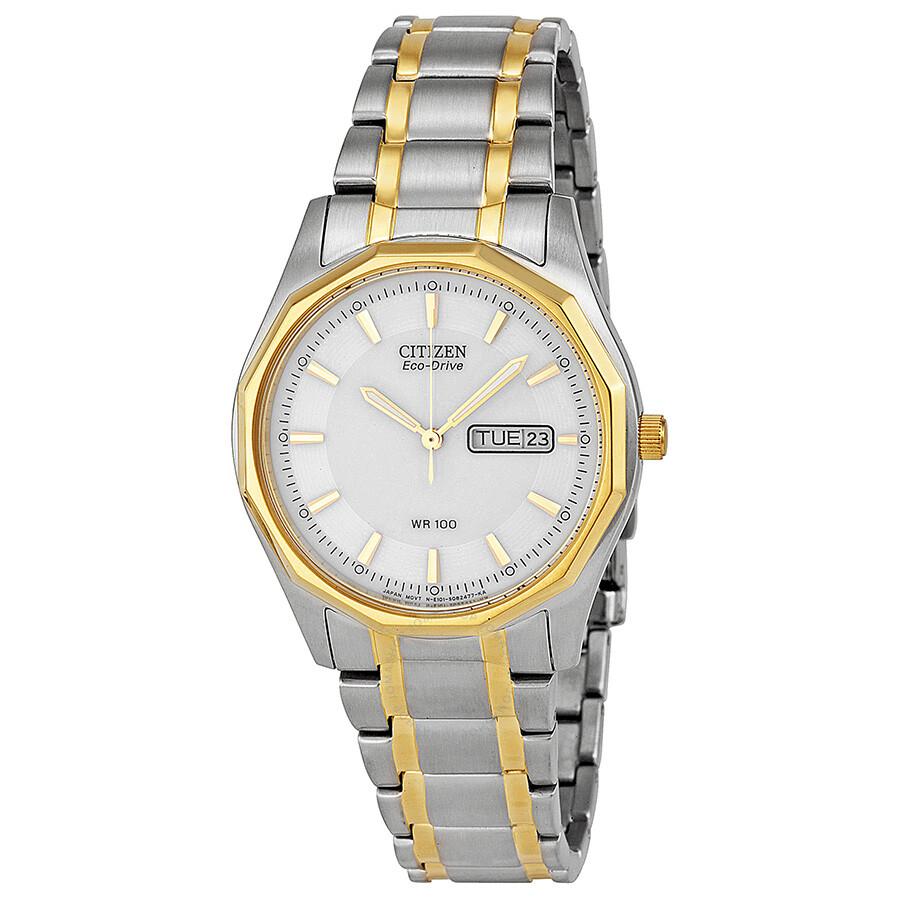 Citizen eco drive white dial two tone men 39 s watch bm8434 58a eco drive citizen watches for Eco drive watch