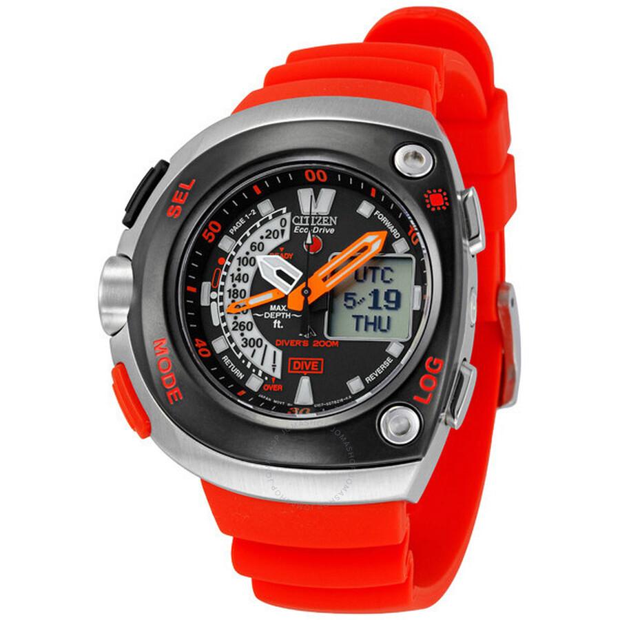 Citizen eco drive 20th anniversary aqualand orange - Orange dive watch ...