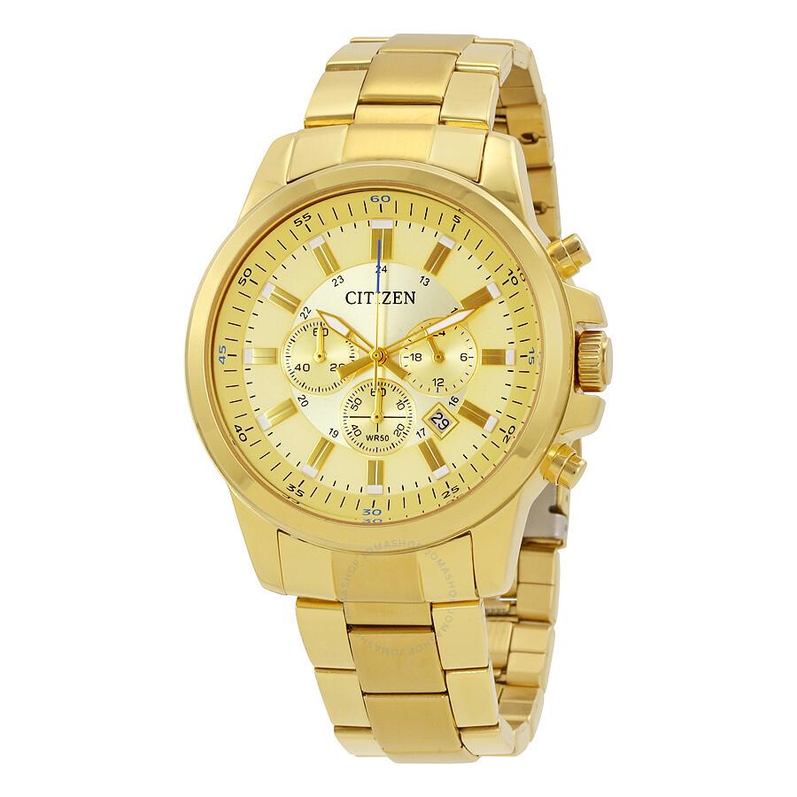 citizen gold tone dial men s chronograph watch an8083 51p
