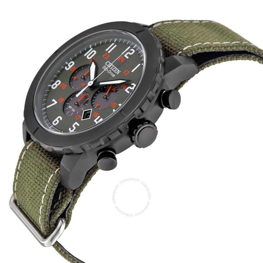 0244a36c7 ... Citizen Military Eco-Drive Orange Accented Green Nylon Strap Chronograph  Men's Watch CA4098-14H ...