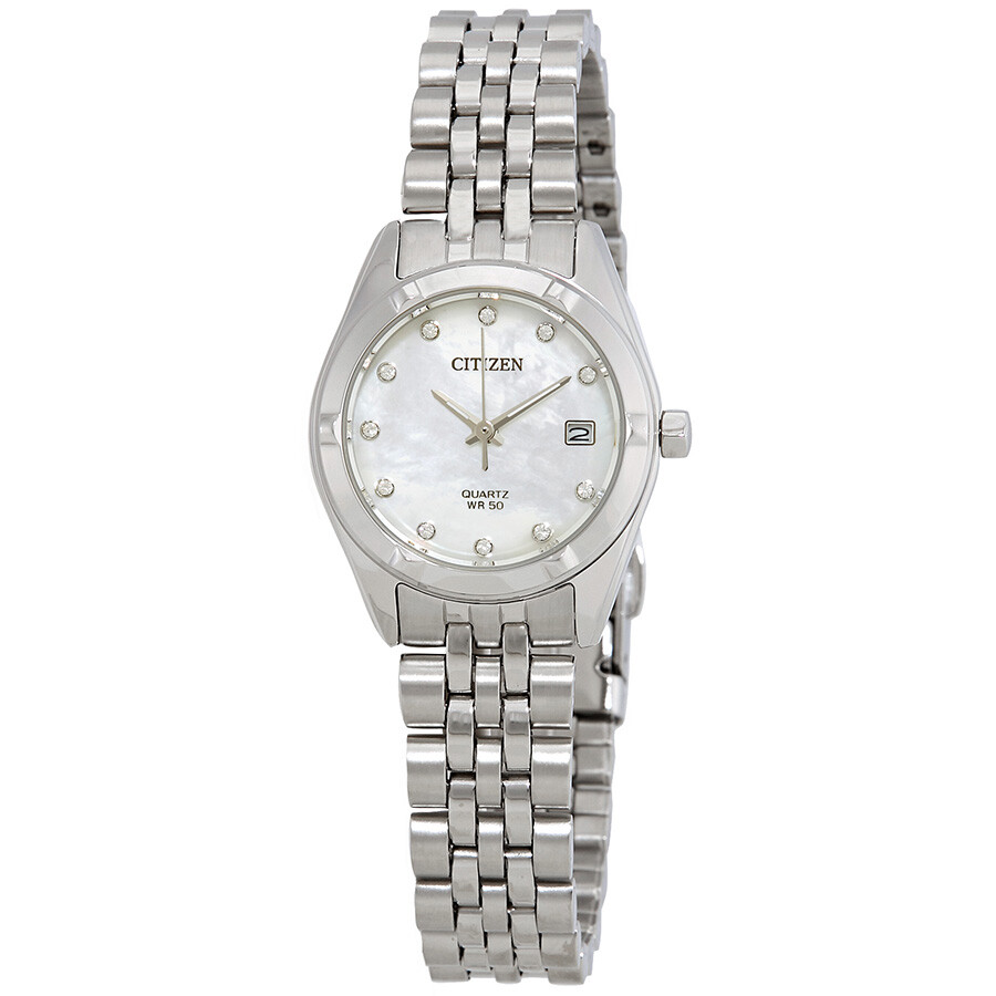 Citizen mother of pearl dial ladies watch eu6050 59d citizen watches jomashop for Pearl watches