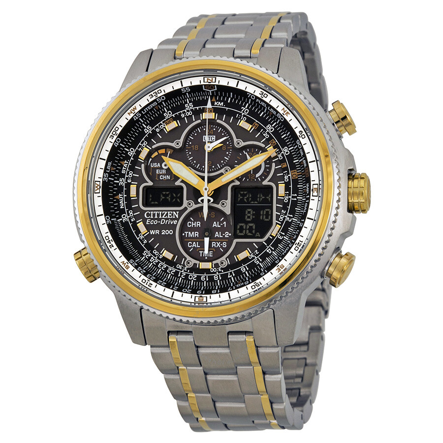 Citizen navihawk a t eco drive black dial two tone stainless steel chrono men 39 s watch jy8034 58e for Eco drive watch