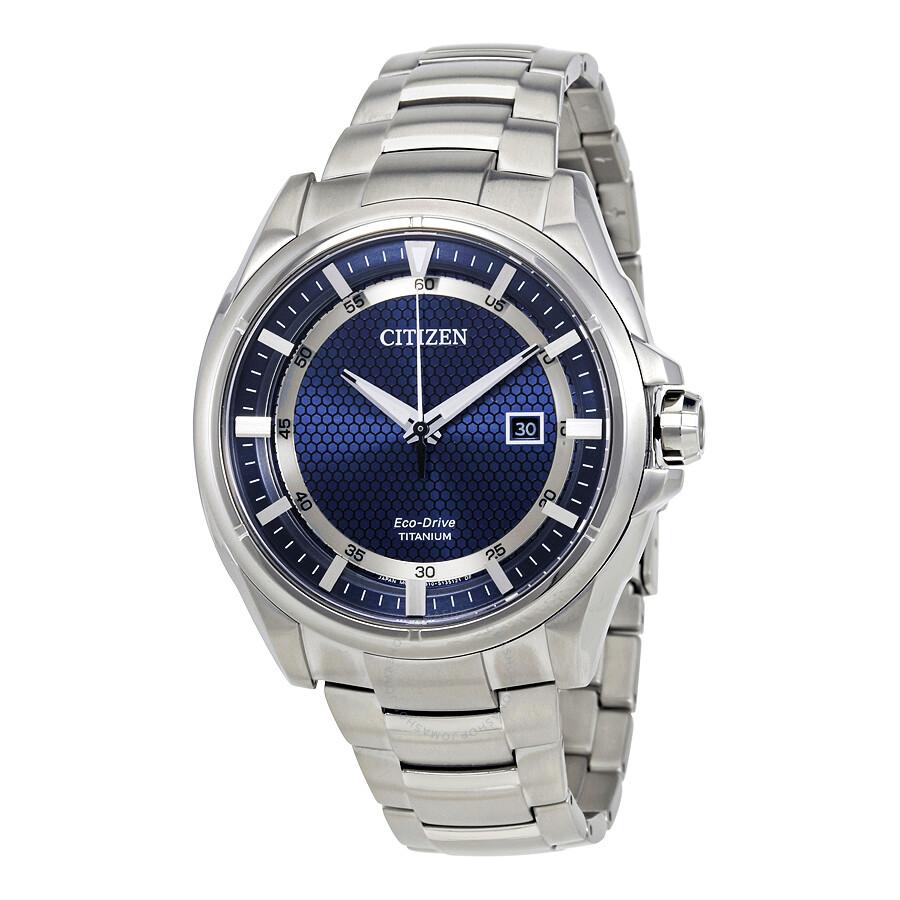 Citizen Eco-Drive Titanium Sapphire Crystal Blue Dial Men ...