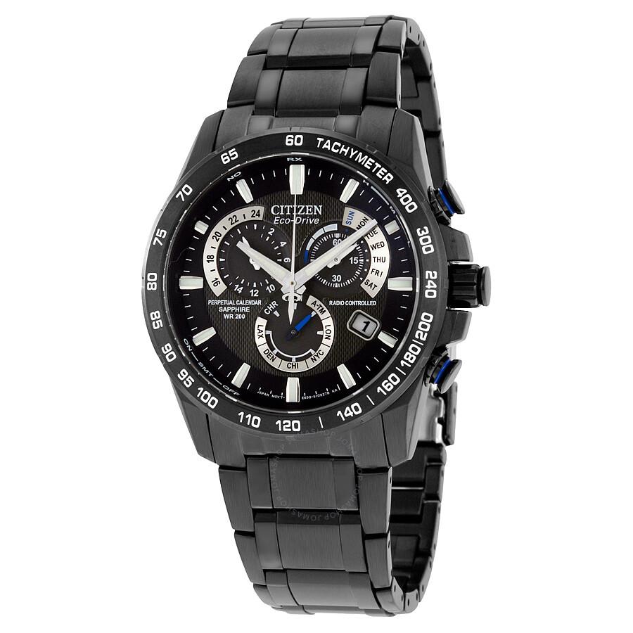 Citizen perpetual chrono a t black dial men 39 s watch at4007 54e perpetual chrono a t citizen for Citizen watches