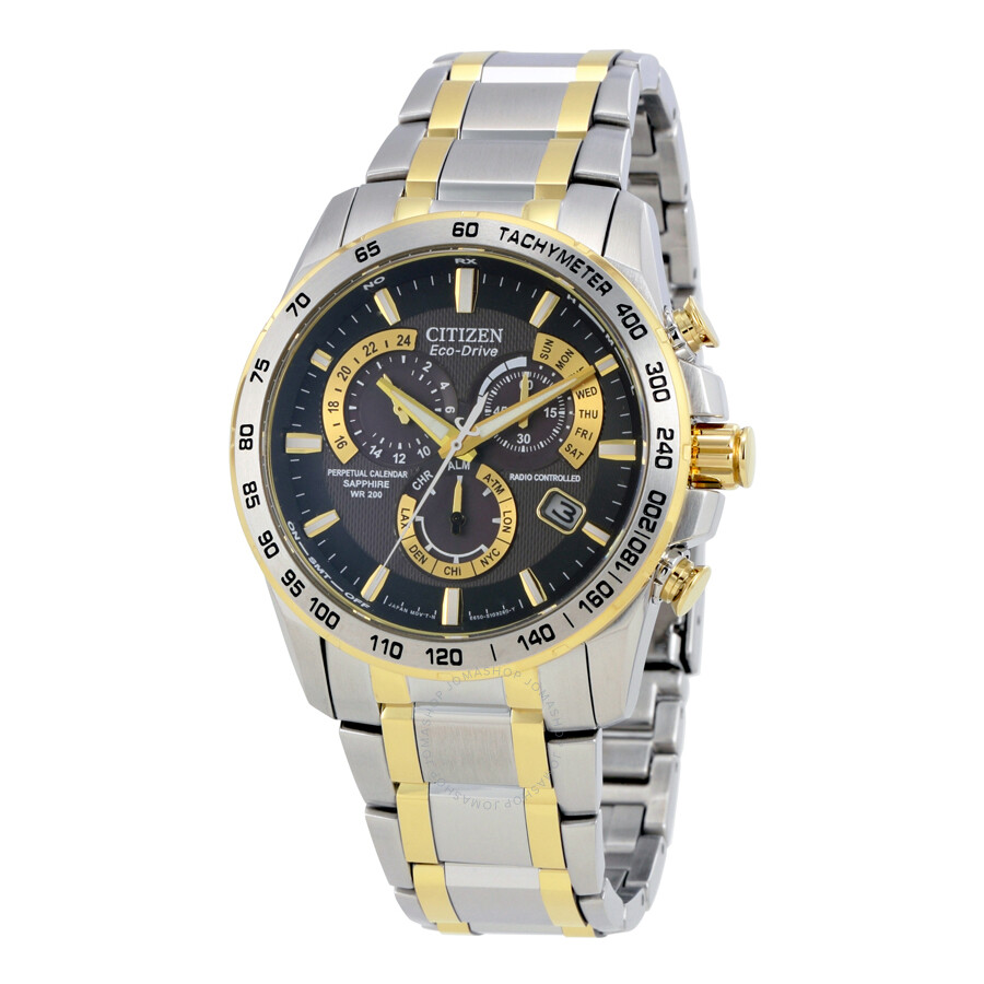 Citizen perpetual chrono a t black dial two tone men 39 s watch at4004 52e perpetual chrono a t for Citizen watches