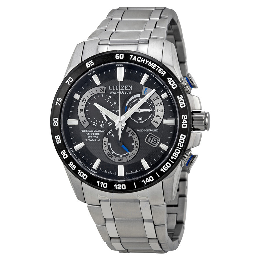 Citizen perpetual chrono a t eco drive titanium chronograph men 39 s watch at4010 50e eco drive for Titanium watches