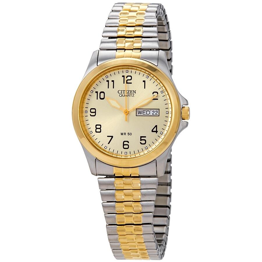 Citizen Quatz Gold Dial Expansion Band Unisex Watch Bf0574 92p