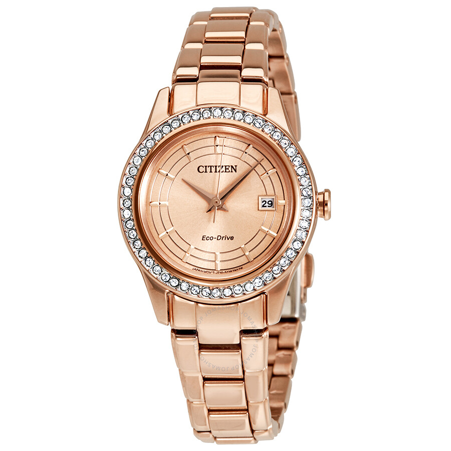 d2a70105c1 Citizen Silhouette Crystal Eco-Drive Rose Gold-Tone Ladies Watch FE1123-51Q  ...