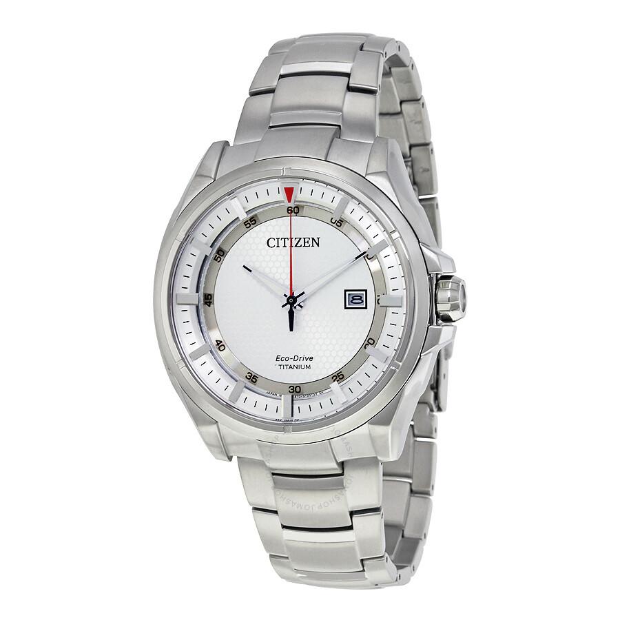 Citizen Eco-Drive Titanium Sapphire Crystal Silver Dial ...