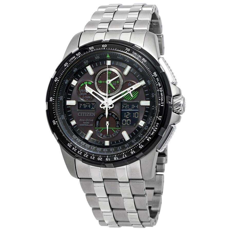 Citizen skyhawk a t eco drive stainless steel men 39 s watch jy8051 59e skyhawk citizen for Eco drive watch