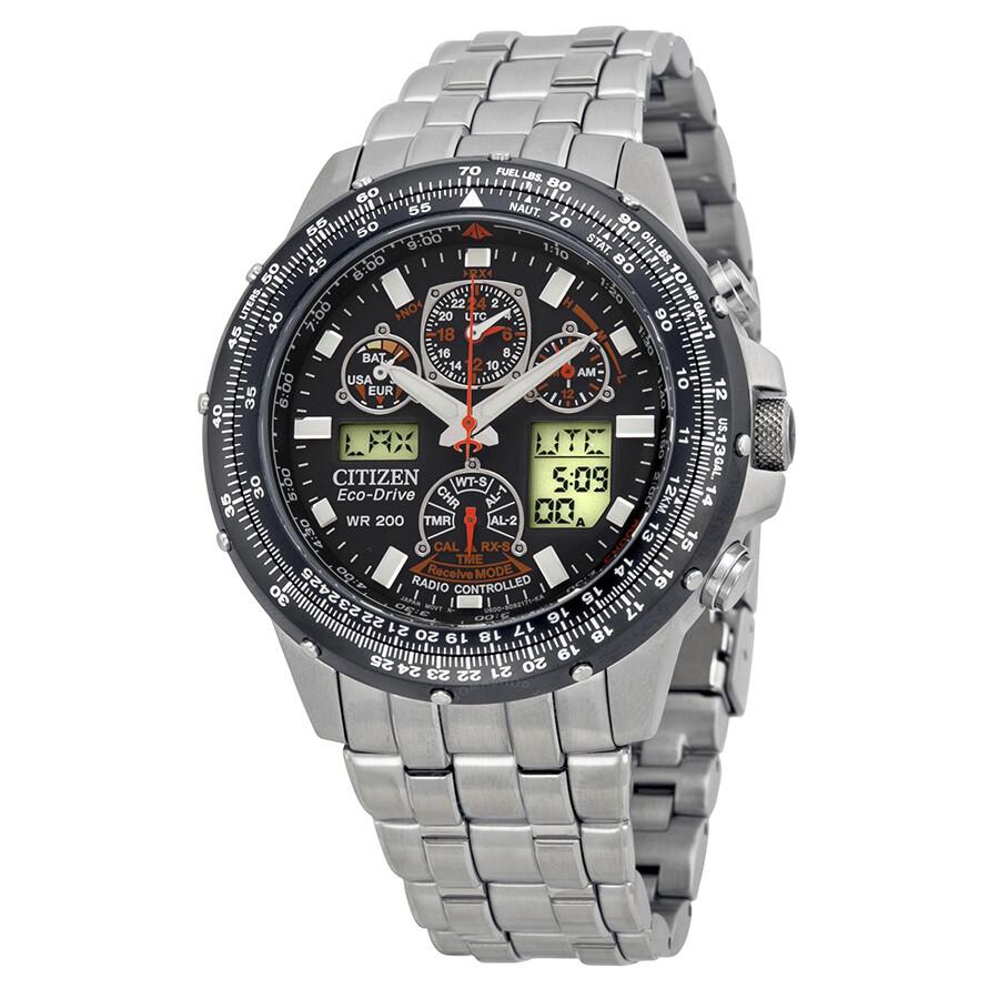 238365c81 Citizen Skyhawk A-T Stainless Steel Chronograph Atomic Men's Watch  JY0000-53E ...