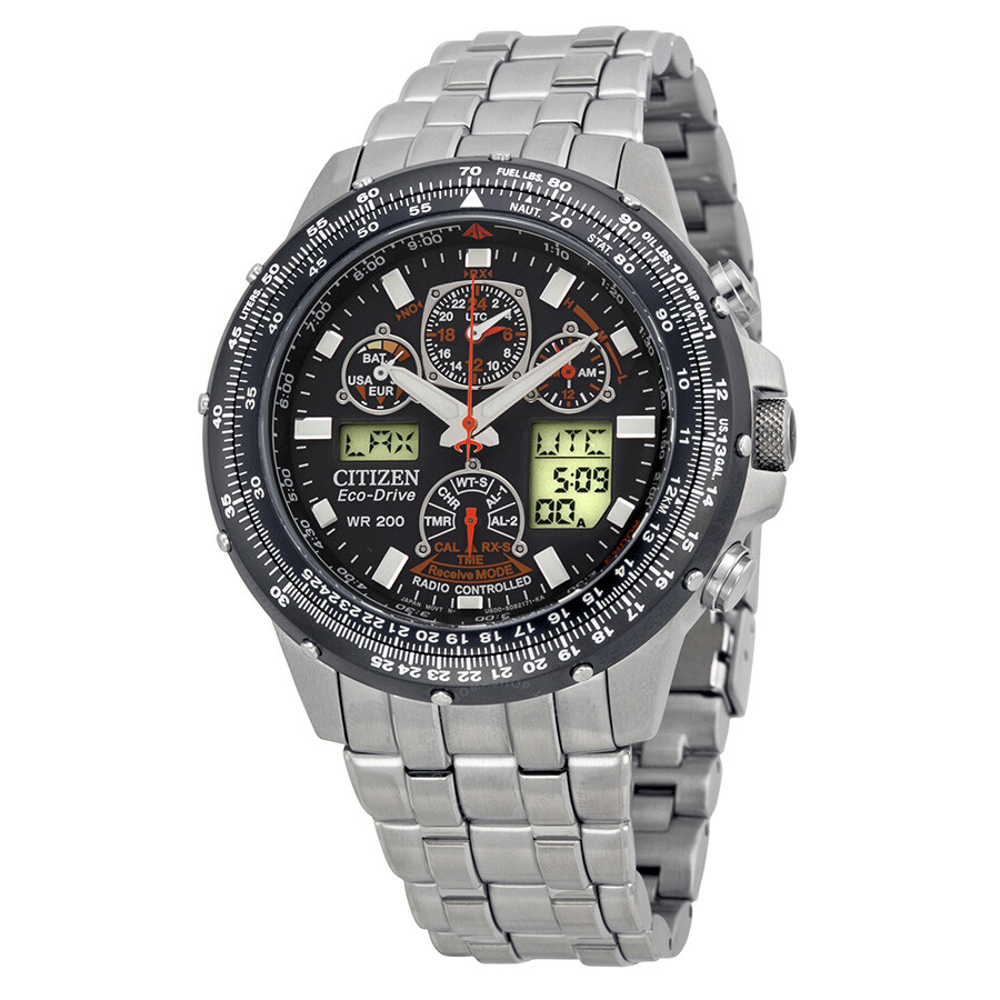 Citizen Skyhawk A-T Stainless Steel Chronograph Atomic Men's Watch JY0000-53E - Citizen - Watches  - Jomashop