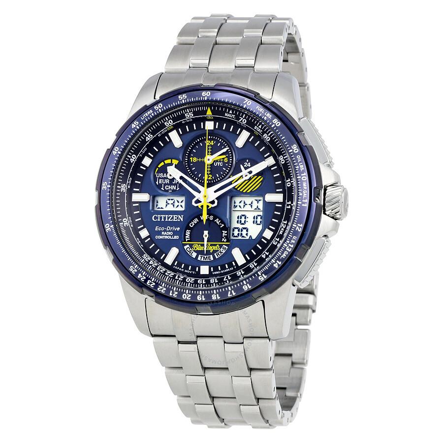 Citizen skyhawk blue angels a t chronograph perpetual men 39 s watch jy8058 50l skyhawk citizen for Citizen watches