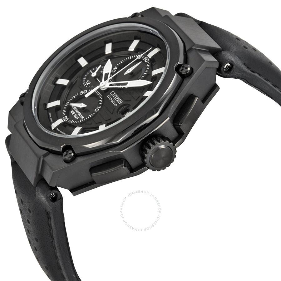 6c7b95b24 Citizen Sport Eco-drive Chronograph Black Dial Black IP Steel Men's Watch  CA0315-01E
