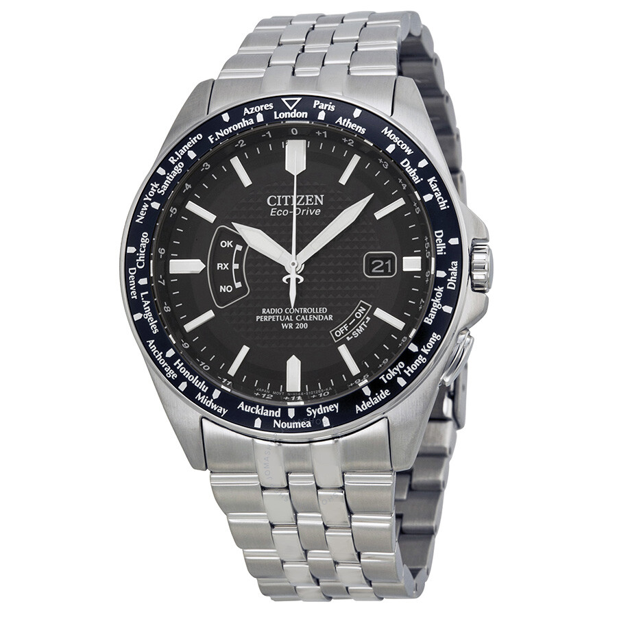 Citizen world perpetual at eco drive black dial stainless for Citizen eco dive