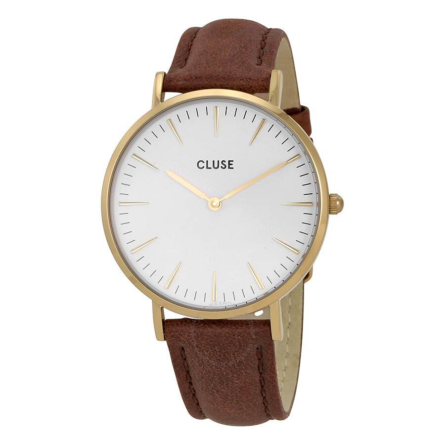 cluse la boheme white dial ladies brown leather watch cl18408 cluse watches jomashop. Black Bedroom Furniture Sets. Home Design Ideas