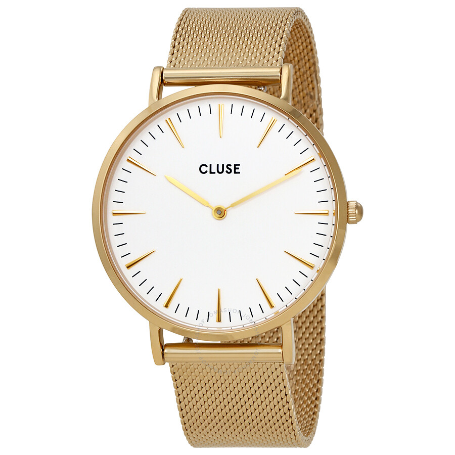 cluse la boheme white dial gold tone stainless steel mesh watch cl18109 cluse watches jomashop. Black Bedroom Furniture Sets. Home Design Ideas
