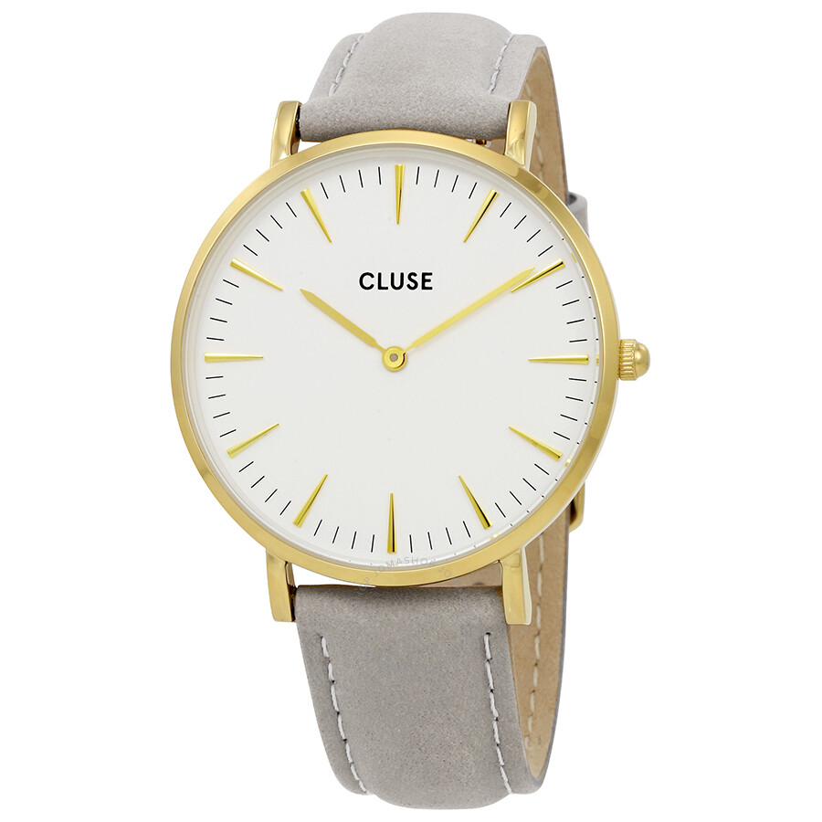 cluse la boheme white dial ladies grey leather watch cl18414 cluse watches jomashop. Black Bedroom Furniture Sets. Home Design Ideas