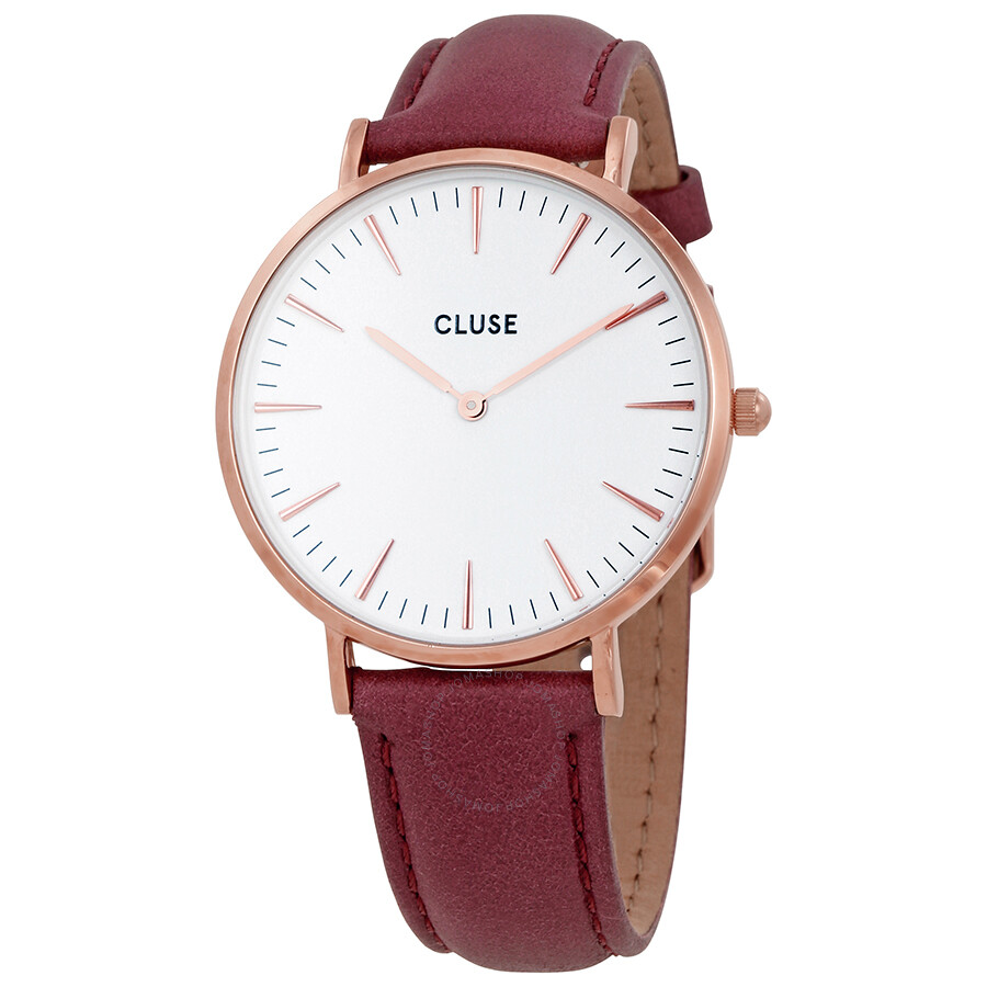 cluse la boheme white dial marsala leather watch cl18017 cluse watches jomashop. Black Bedroom Furniture Sets. Home Design Ideas