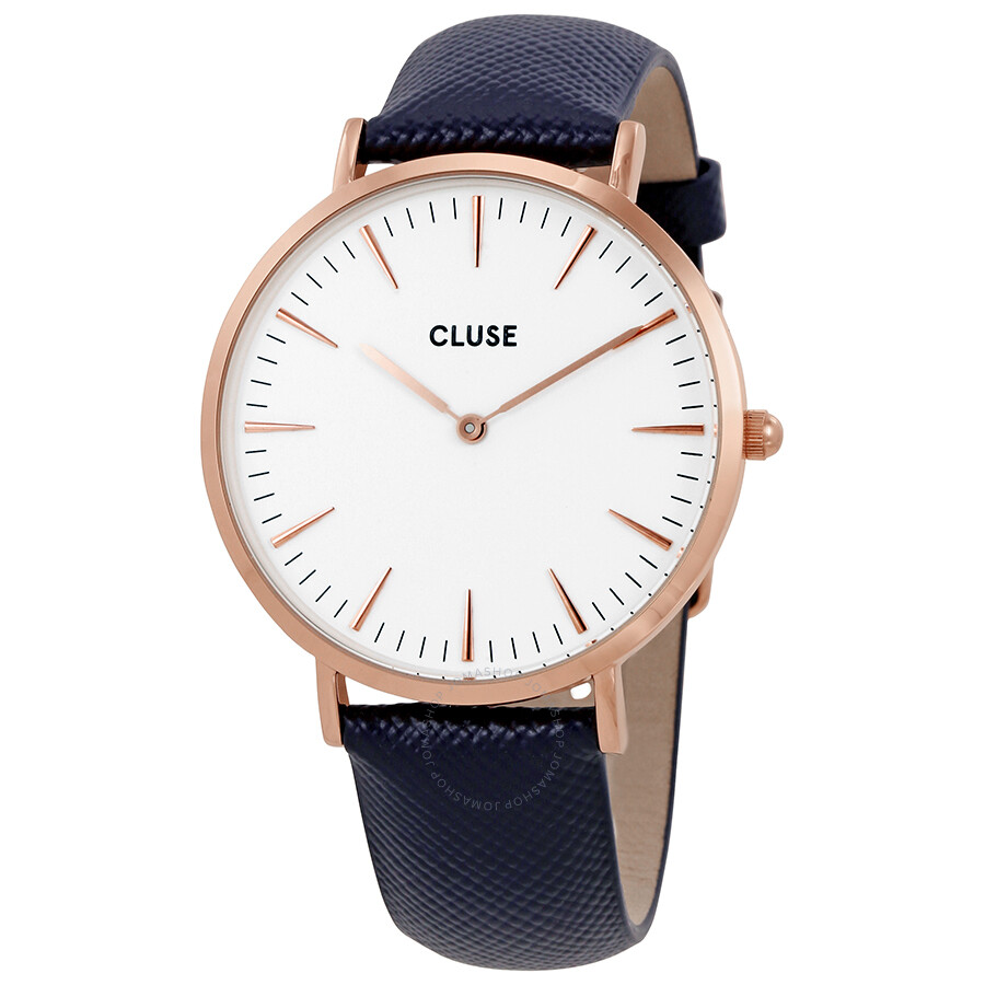 cluse la boheme white dial ladies midnight blue leather ladies watch cl18029 cluse watches. Black Bedroom Furniture Sets. Home Design Ideas