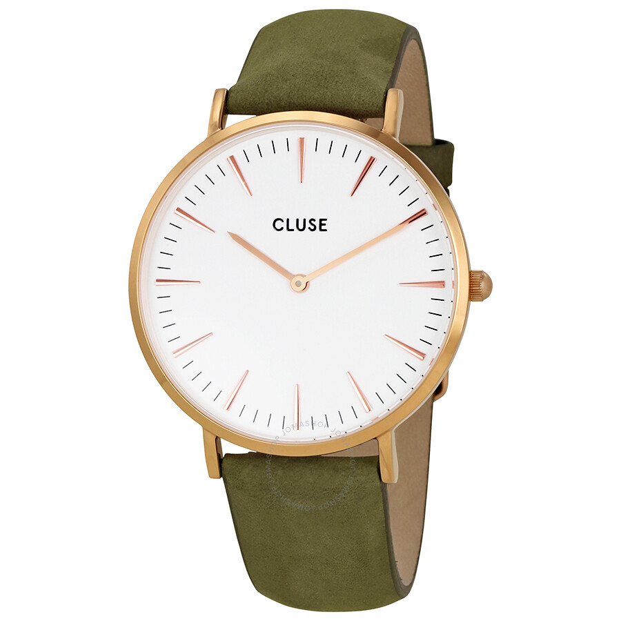 cluse la boheme white dial ladies olive green leather ladies watch cl18023 cluse watches. Black Bedroom Furniture Sets. Home Design Ideas