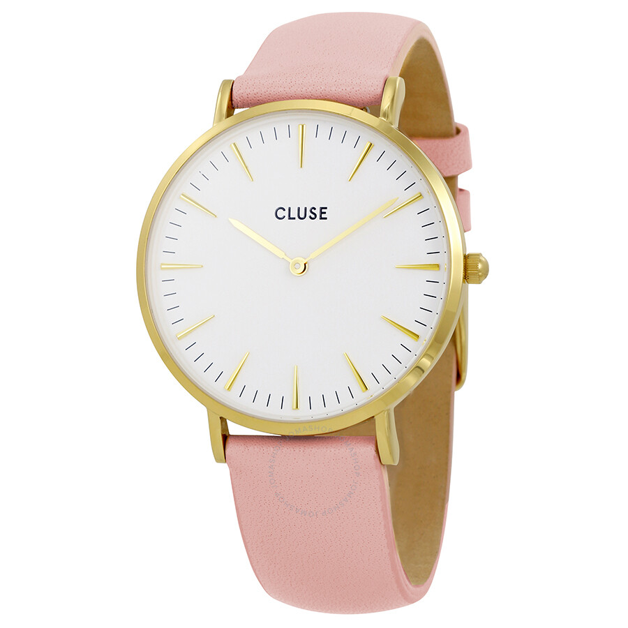 cluse la boheme white dial pink leather ladies watch cl18410 cluse watches jomashop. Black Bedroom Furniture Sets. Home Design Ideas