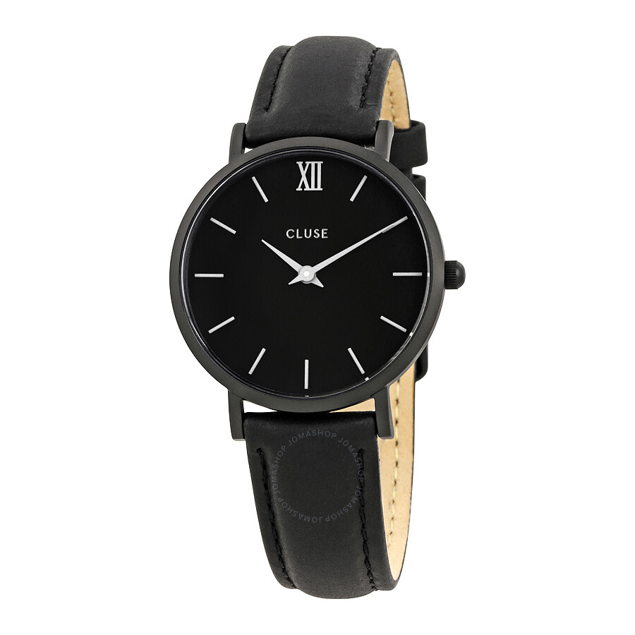 cluse minuit black dial ladies leather watch cl30008 cluse watches jomashop. Black Bedroom Furniture Sets. Home Design Ideas
