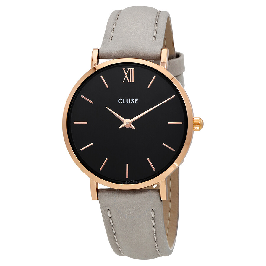 cluse minuit black dial ladies casual leather watch cl30018 cluse watches jomashop. Black Bedroom Furniture Sets. Home Design Ideas