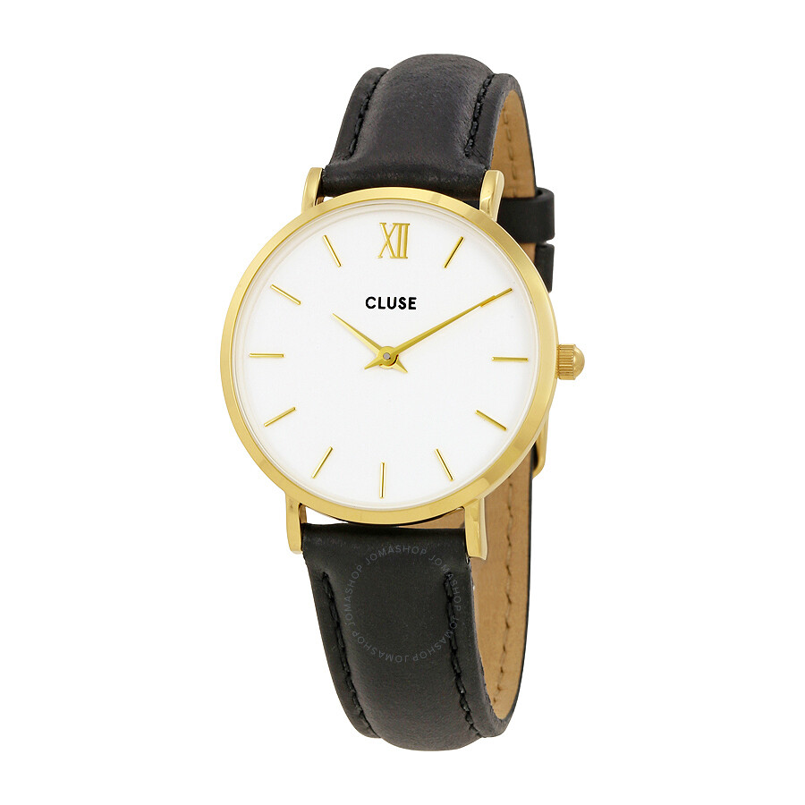 cluse minuit white dial ladies leather watch cl30019 cluse watches jomashop. Black Bedroom Furniture Sets. Home Design Ideas