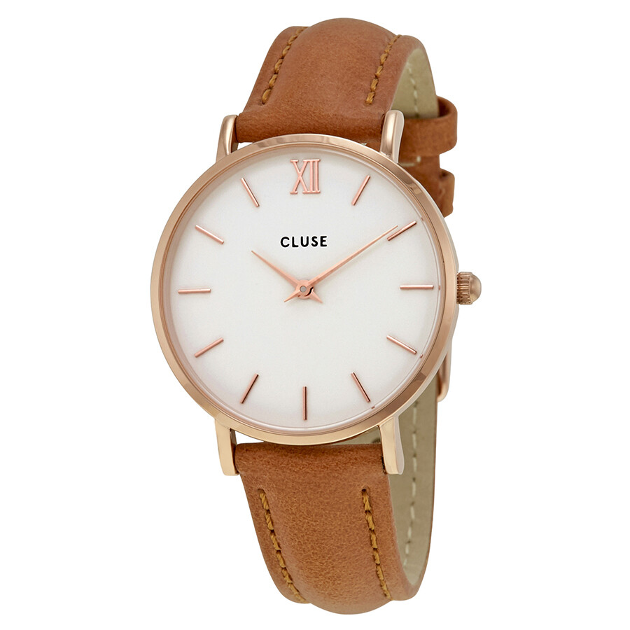 cluse minuit white dial ladies caramel leather watch cl30021 cluse watches jomashop. Black Bedroom Furniture Sets. Home Design Ideas