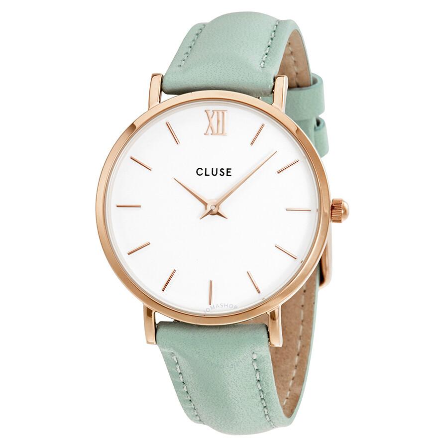 b0bf08e2d3 Cluse Minuit White Dial Pastel Mint Leather Ladies Watch CL30017 ...