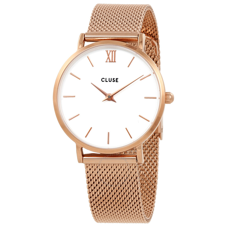 cluse minuit white dial rose gold mesh watch cl30013 cluse watches jomashop. Black Bedroom Furniture Sets. Home Design Ideas