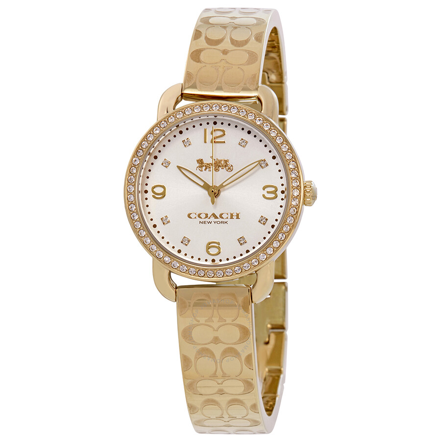 Coach delancey silver dial gold tone bangle ladies watch 14502766 coach watches jomashop for Ladies bangle watch