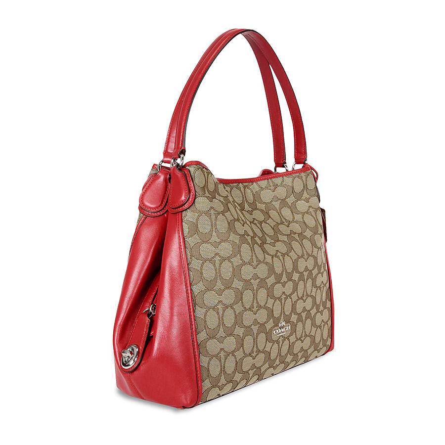 coach edie signature jacquard shoulder bag khaki true red coach handbags handbags jomashop. Black Bedroom Furniture Sets. Home Design Ideas