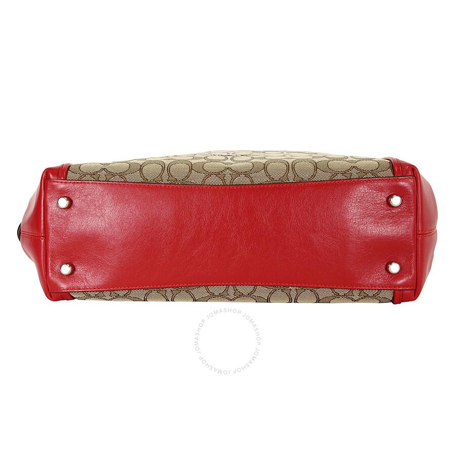 Coach Edie Signature Jacquard Shoulder Bag - KhakiTrue Red ... 7866a0051547a
