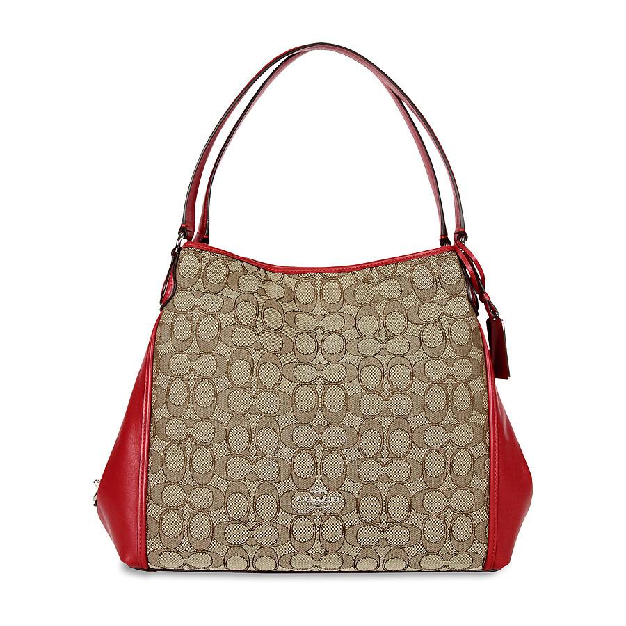 ... Coach Edie Signature Jacquard Shoulder Bag - KhakiTrue Red ... 8b6c325575553