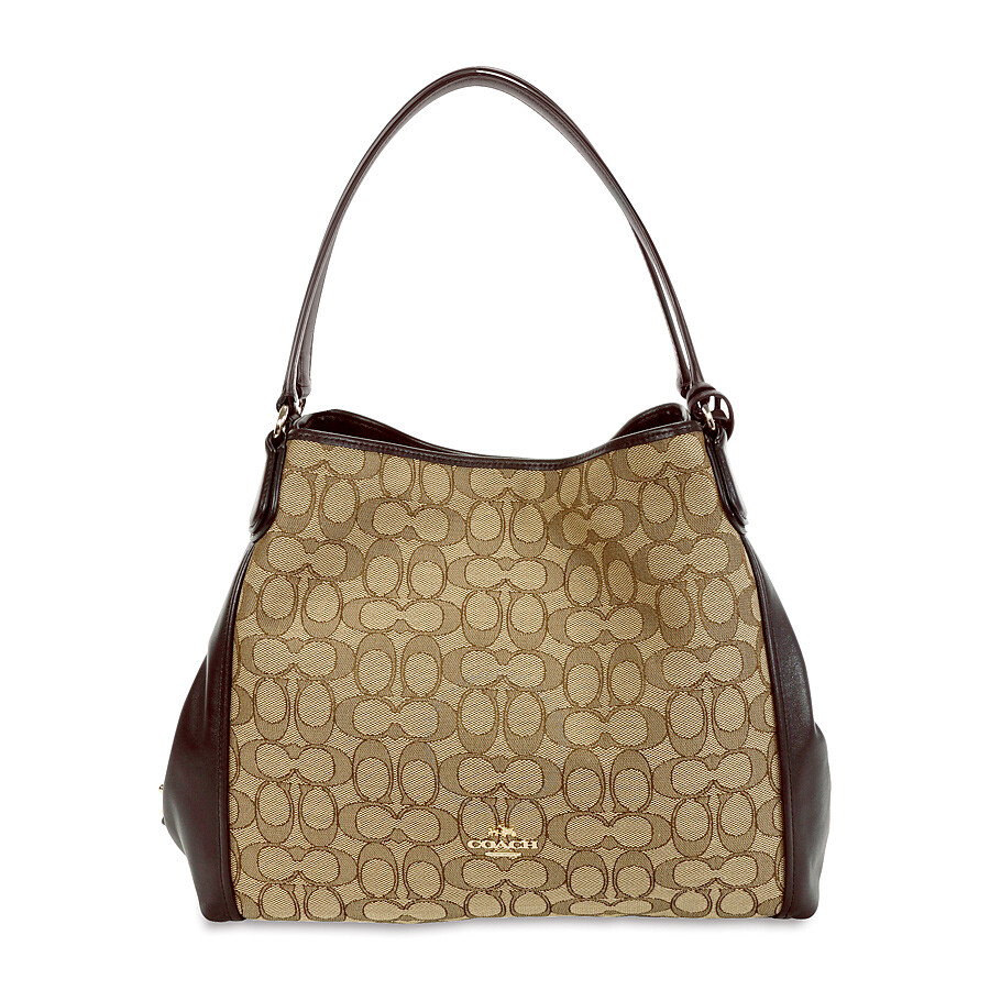Coach Edie Signature Jacquard Shoulder Bag - Light Gold Khaki Brown ... fd75e3b3a0999