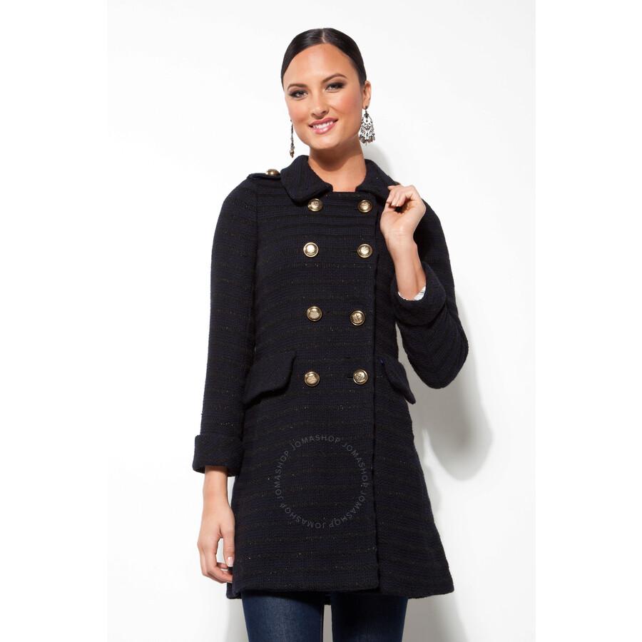 95d5810ef1f Coach Ladies Cambridge Stripe Wool Coat in Navy - Size 6 Item No.  80663NVBK-6