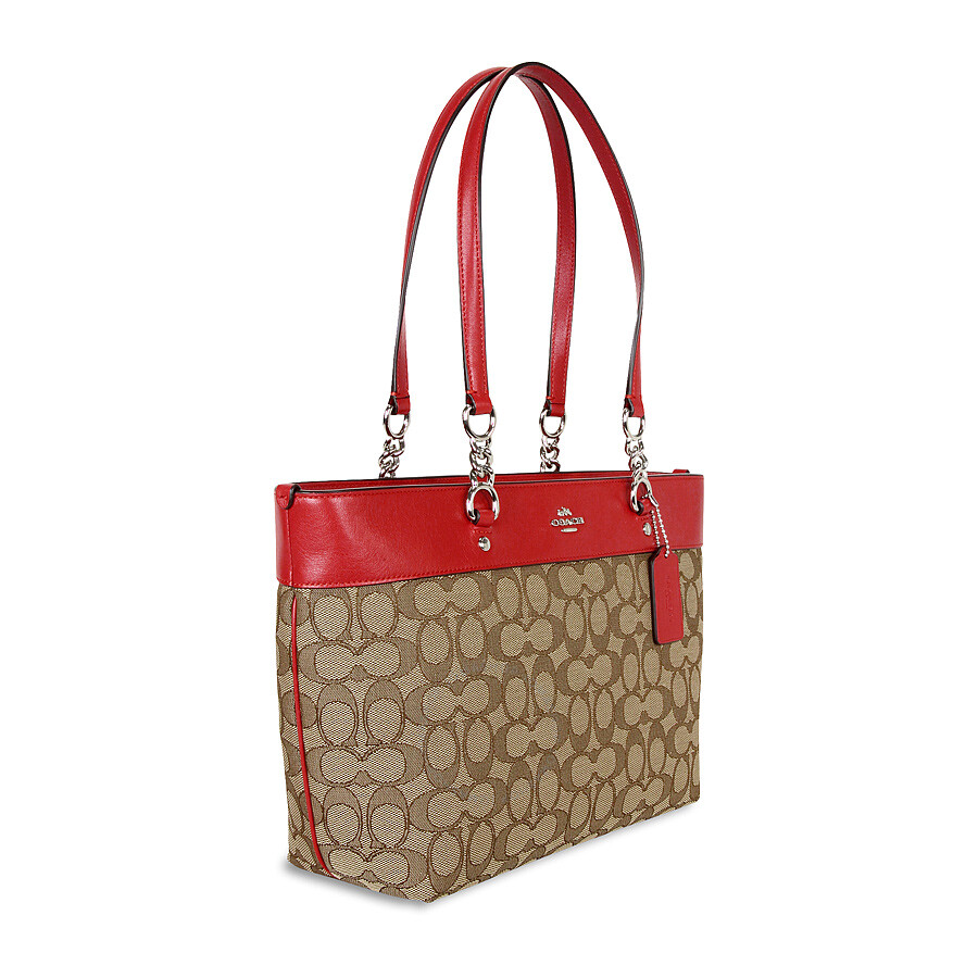 5f4dffd24d Coach Sophia Small Tote- Khaki/True Red - Coach Handbags - Handbags ...