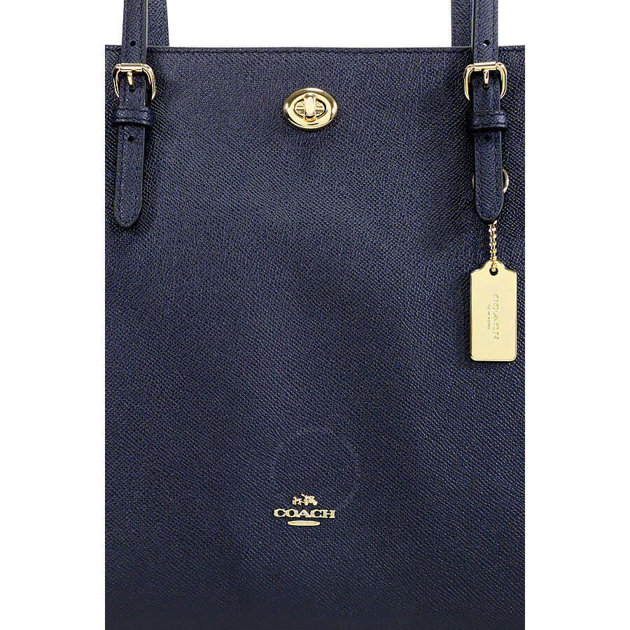 e06e5999140c Coach Turnlock Crossgrain Leather Tote - Light Gold Navy - Coach ...