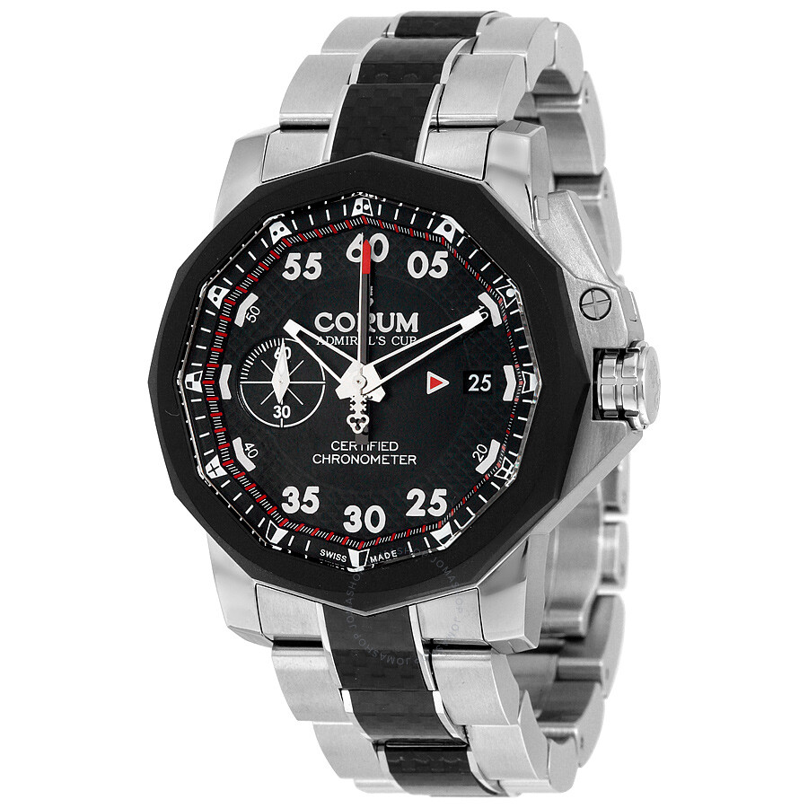 Corum admirals cup black dial steel and black carbon fiber automatic men 39 s watch a96102939 for Corum watches