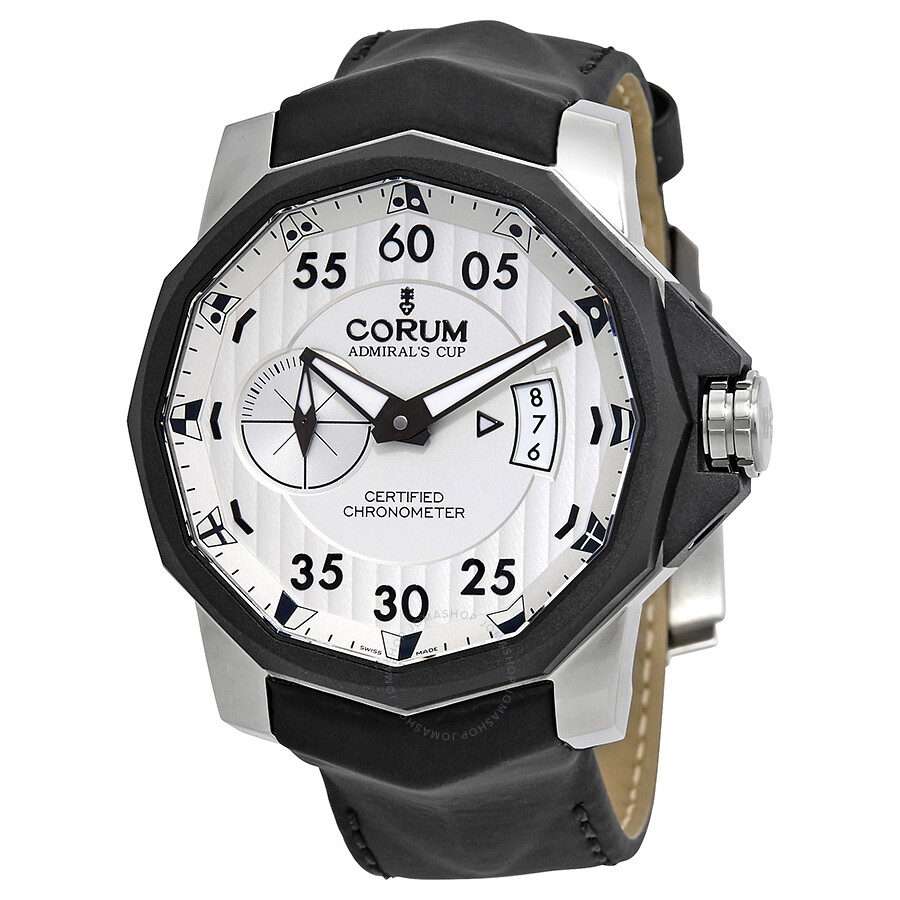 Corum admirals cup black leather strap men 39 s watch 947951950371ak14 admirals cup corum for Corum watches