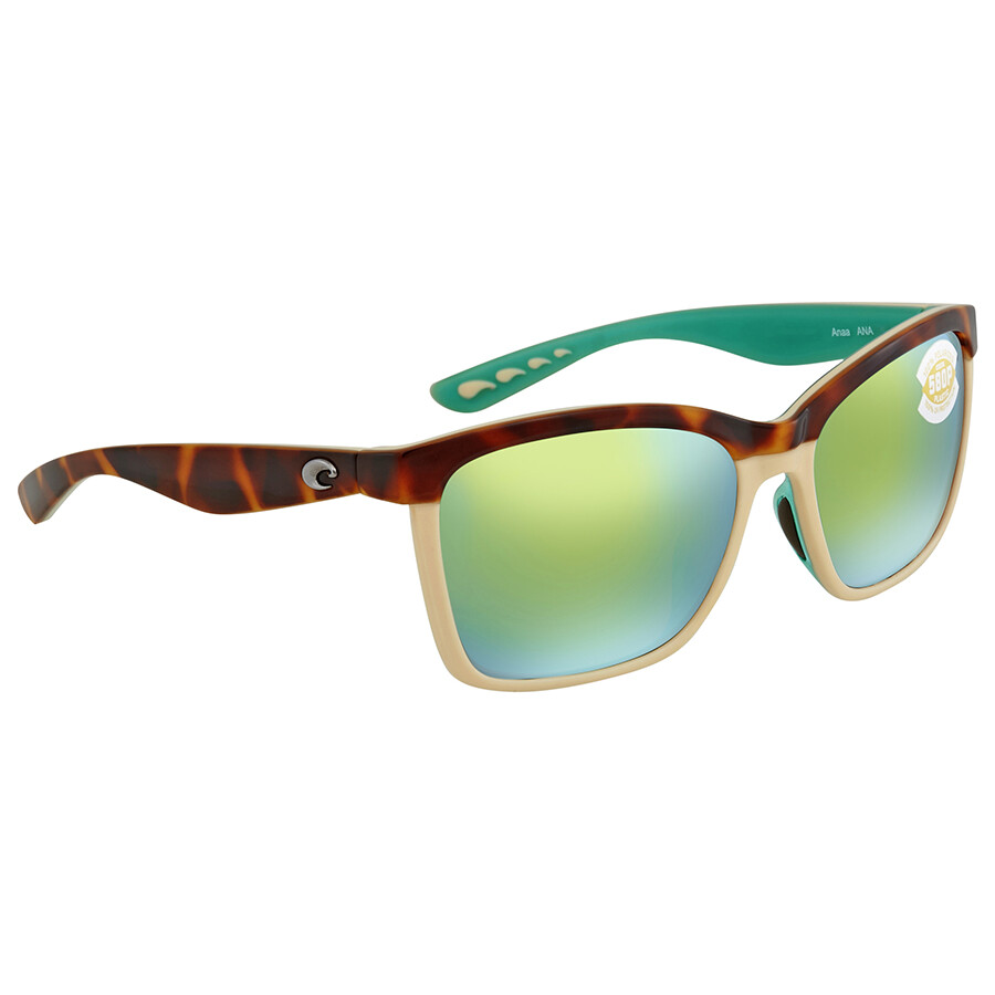 9888015796fe Costa Del Mar Anaa Green Mirror Polarized Square Sunglasses ANA 105 OGMP ...