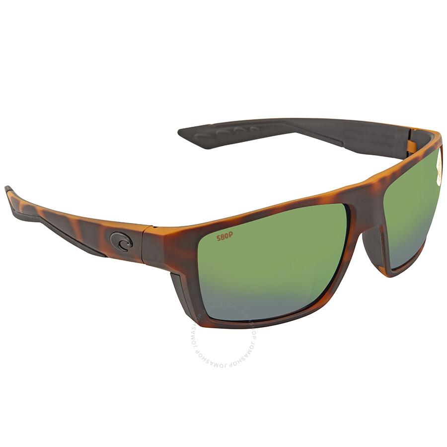 Costa Del Mar Bloke Sunglasses BLK 124 Black Grey Blue Mirror 580G Polarized