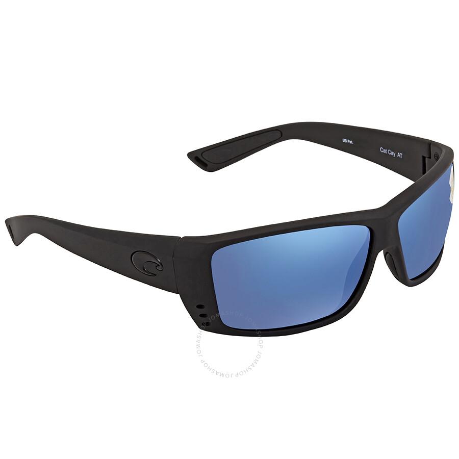 Costa Del Mar Blue Mirror 580P Rectangular Sunglasses AT 01 OBMP AT 01 OBMP