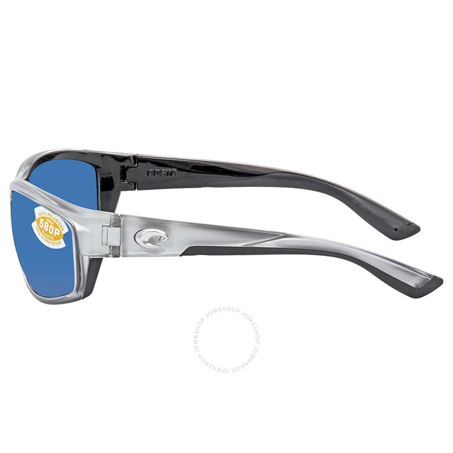 4d2ef30bca73d ... Costa Del Mar Blue Mirror Polarized Plastic Rectangular Sunglasses BK  18 OBMP