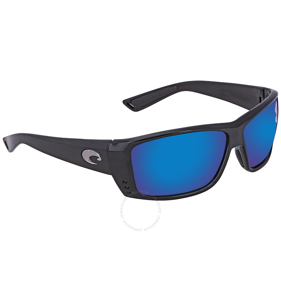 d66ce0b679 Costa Del Mar Cat Cay Blue Mirror Polarized Glass Rectangular Sunglasses AT  11 OBMGLP ...