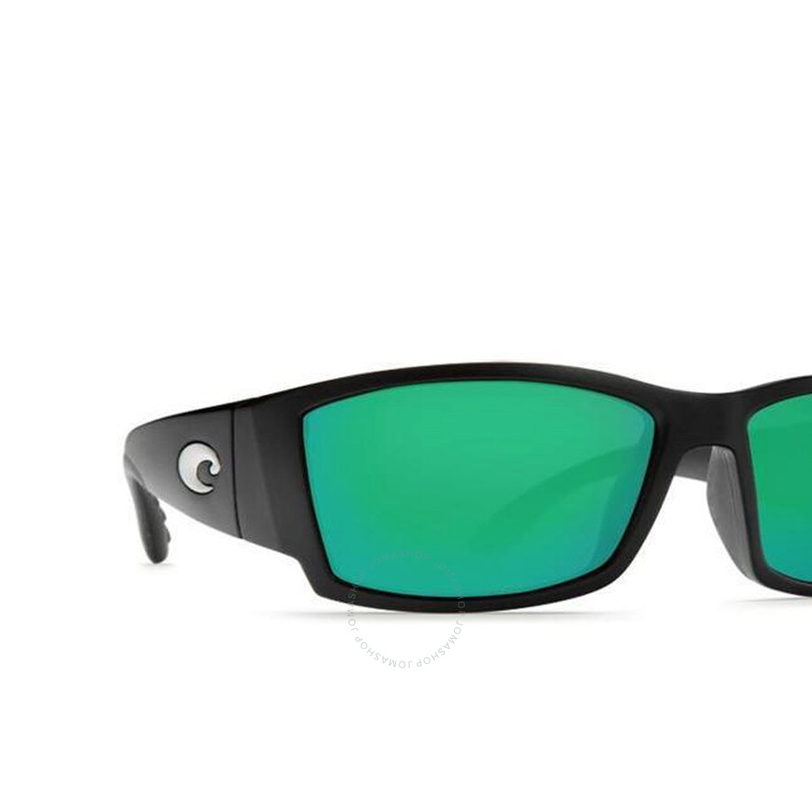 Green Mirror 580P Polarized lens Costa Del Mar Corbina Sunglasses Black frame