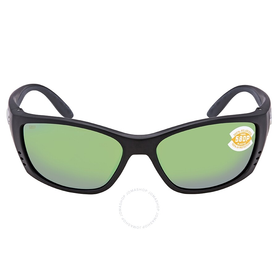 c8806f4e2a ... Costa Del Mar Fisch Green Mirror Polarized Plastic Square Sunglasses FS  11 OGMP ...