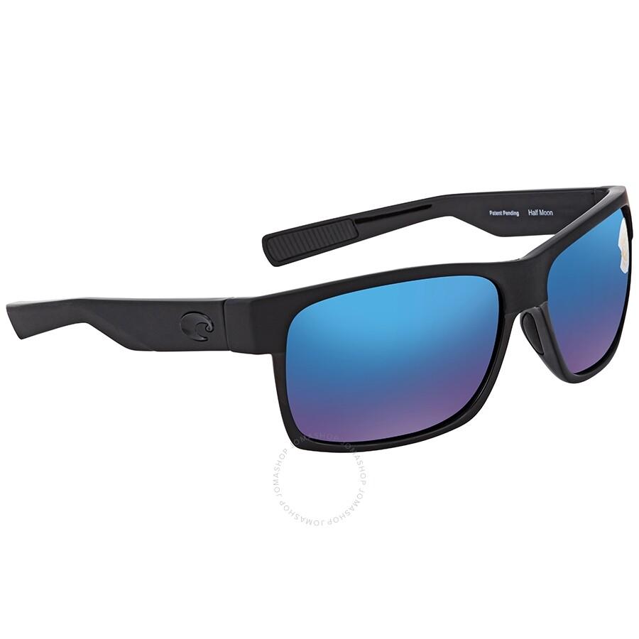 NEW Costa Del Mar Half Moon Shiny Black Blue HFM155 OBMP 580P Sunglasses